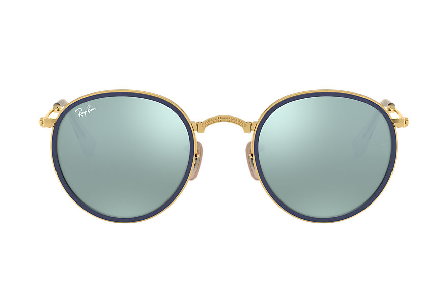 Ray-Ban Round Folding Gold, Gray Lenses - RB3517