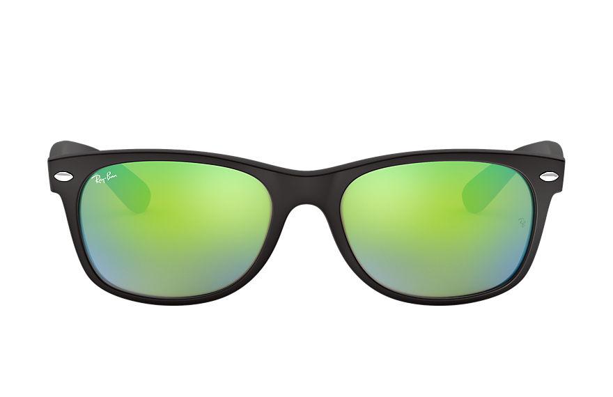 Ray-Ban New Wayfarer Flash Black, Green Lenses - RB2132