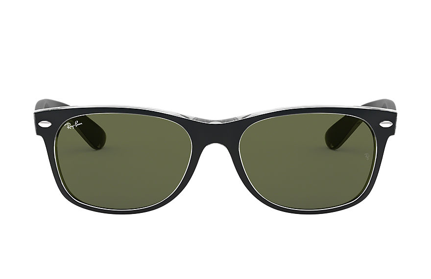 Ray-Ban New Wayfarer Color Mix Low Bridge Fit Black, Green Lenses - RB2132F