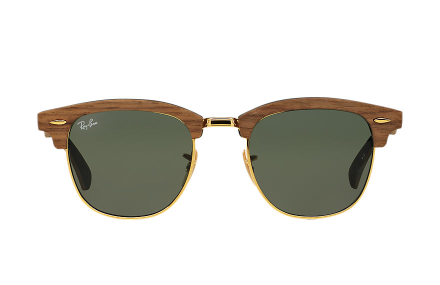 Ray-Ban Clubmaster Wood Black, Green Lenses - RB3016M