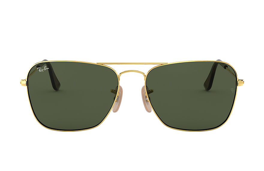 Ray-Ban Caravan Gold, Havana, Green Lenses - RB3136