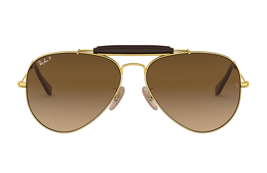 Ray-Ban Outdoorsman Craft @collection Gold, Polarized Brown Lenses - RB3422Q
