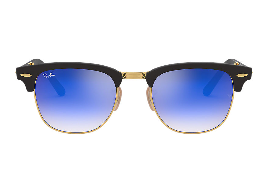 Ray-Ban Clubmaster Folding Flash Lenses Gradient Gold, Blue Lenses - RB2176