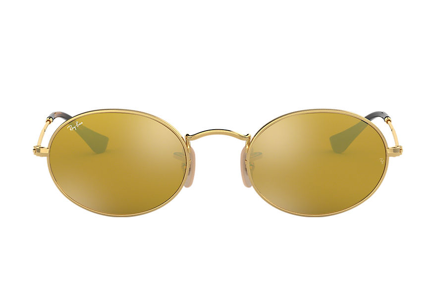 Ray-Ban Oval Flat Lenses Gold, Yellow Lenses - RB3547N
