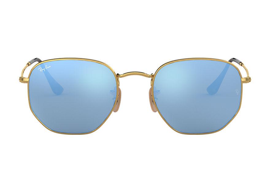 Ray-Ban Hexagonal Flat Lenses Gold, Blue Lenses - RB3548N