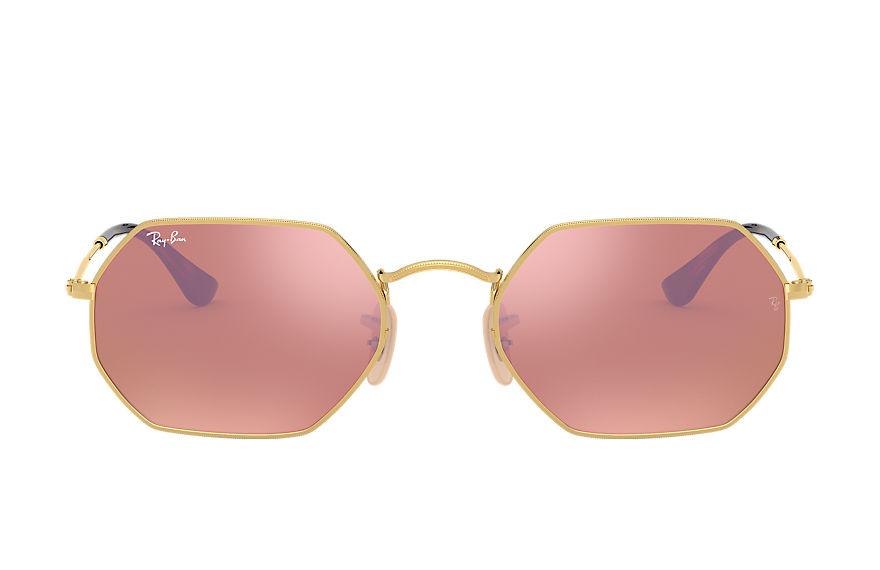 Ray-Ban Octagonal Flash Lenses Gold, Pink Lenses - RB3556N