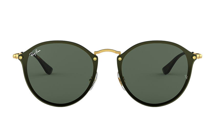 Ray-Ban Blaze Round Gold, Green Lenses - RB3574N