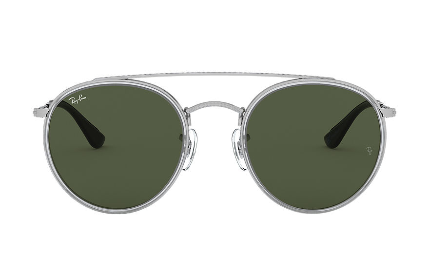 Ray-Ban Round Double Bridge @collection Silver, Green Lenses - RB3647N
