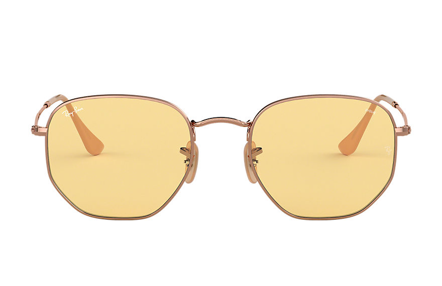 Ray-Ban Hexagonal Washed Evolve Bronze-Copper, Yellow Lenses - RB3548N