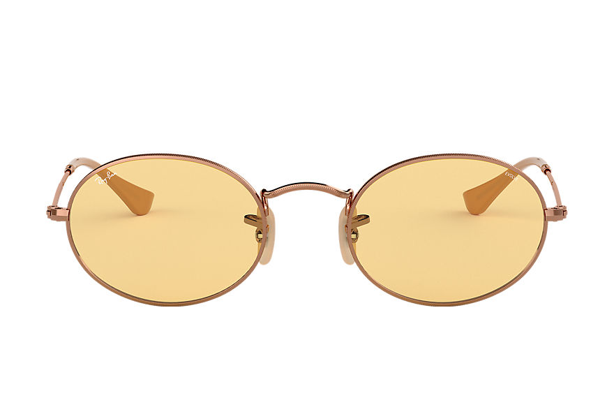 Ray-Ban Oval Washed Evolve Bronze-Copper, Yellow Lenses - RB3547N