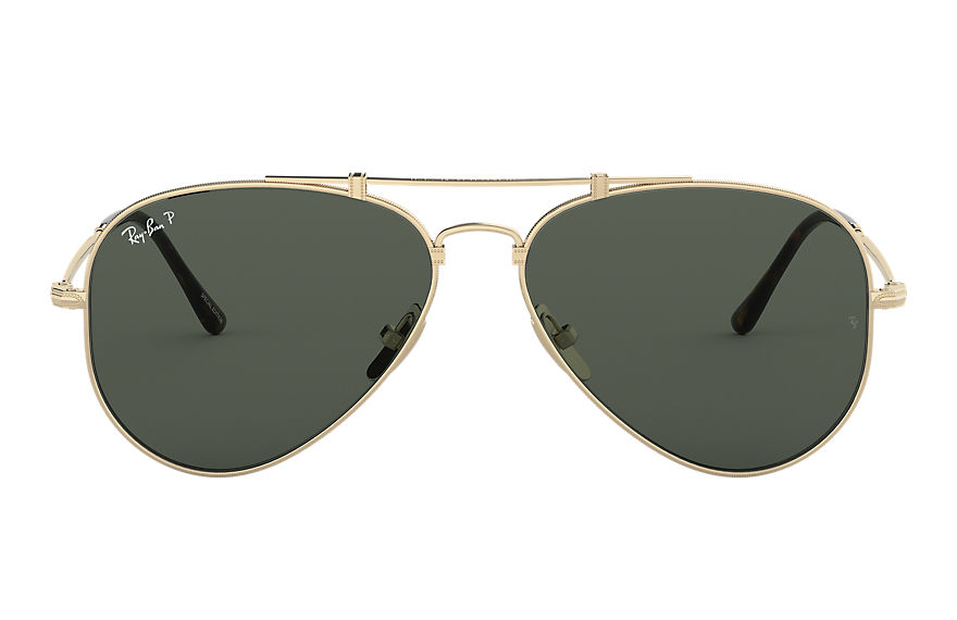 Ray-Ban Aviator Titanium Gold, Polarized Green Lenses - RB8125M