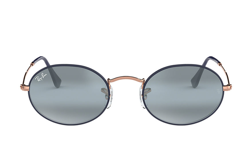 Ray-Ban Oval Bronze-Copper, Blue Lenses - RB3547