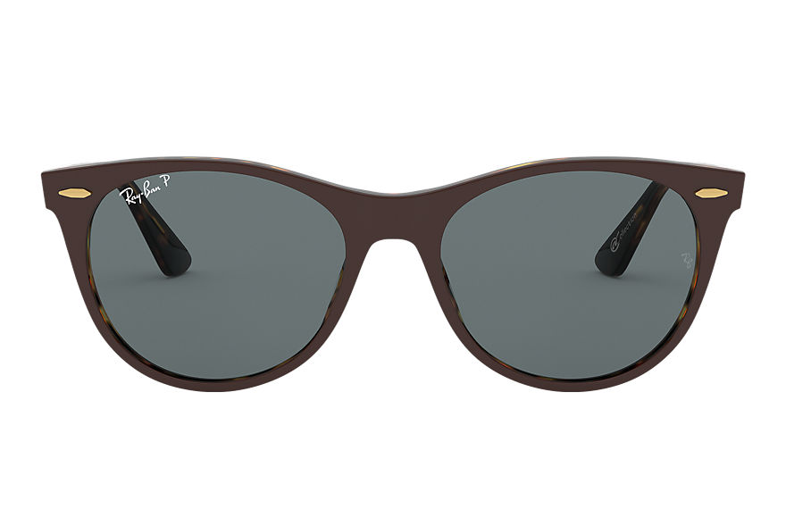 Ray-Ban Wayfarer II @collection Brown, Polarized Blue Lenses - RB2185