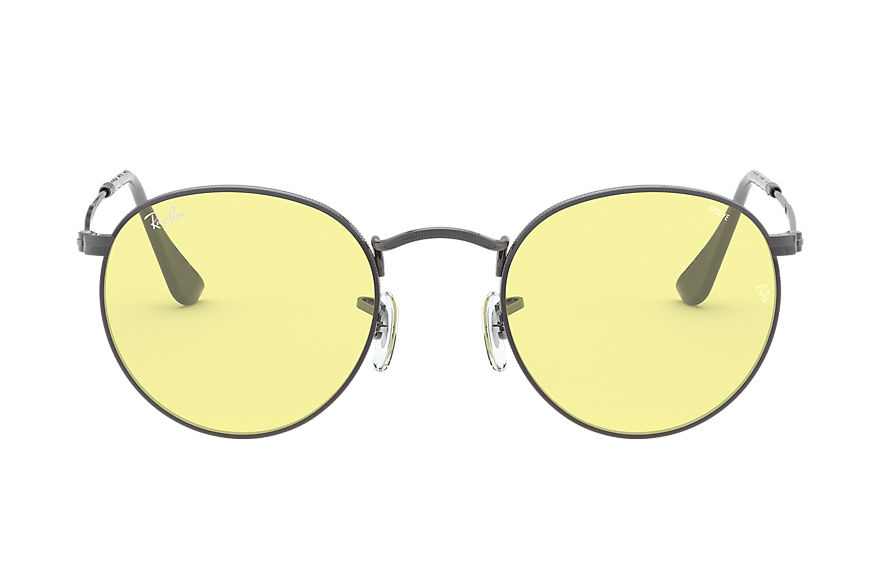 Ray-Ban Round Solid Evolve Gunmetal, Yellow Lenses - RB3447