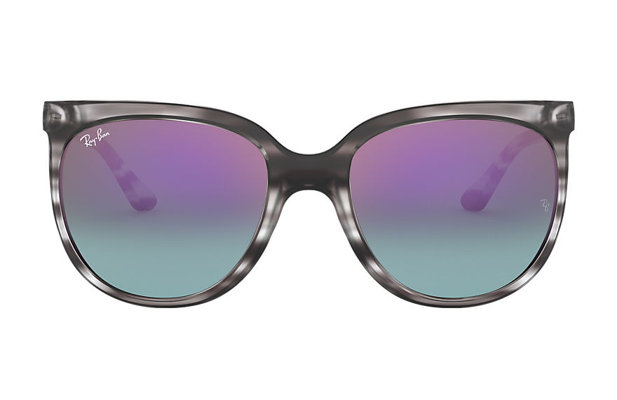 Ray-Ban Cats 1000 Striped Grey, Blue Lenses - RB4126