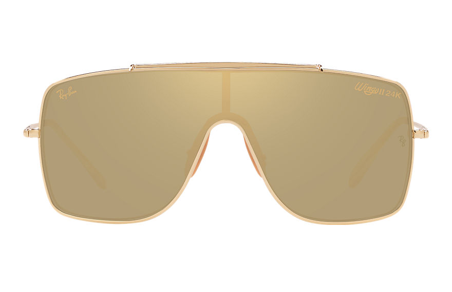 Ray-Ban Wings II Hd80 Gold, Yellow Lenses - RB3697K