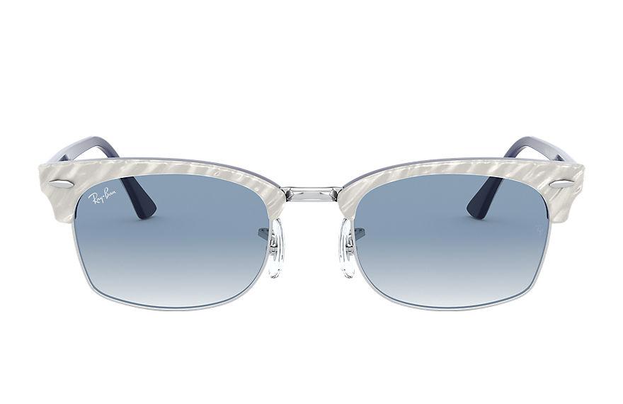Ray-Ban Clubmaster Square Wrinkled Light Grey, Blue Lenses - RB3916