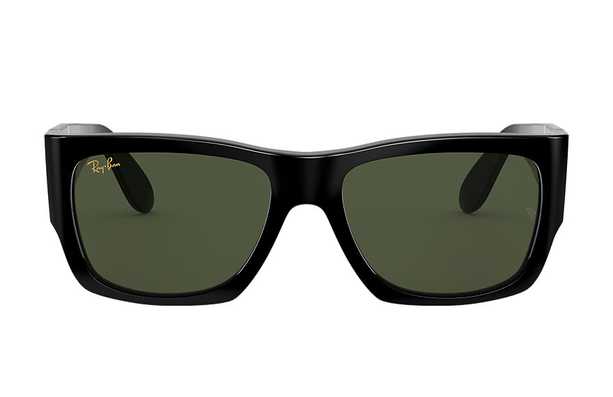Ray-Ban Nomad Legend Gold Shiny Black, Green Lenses - RB2187