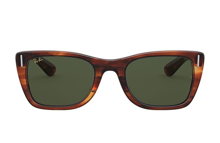 Ray-Ban Caribbean Striped Havana, Green Lenses - RB2248