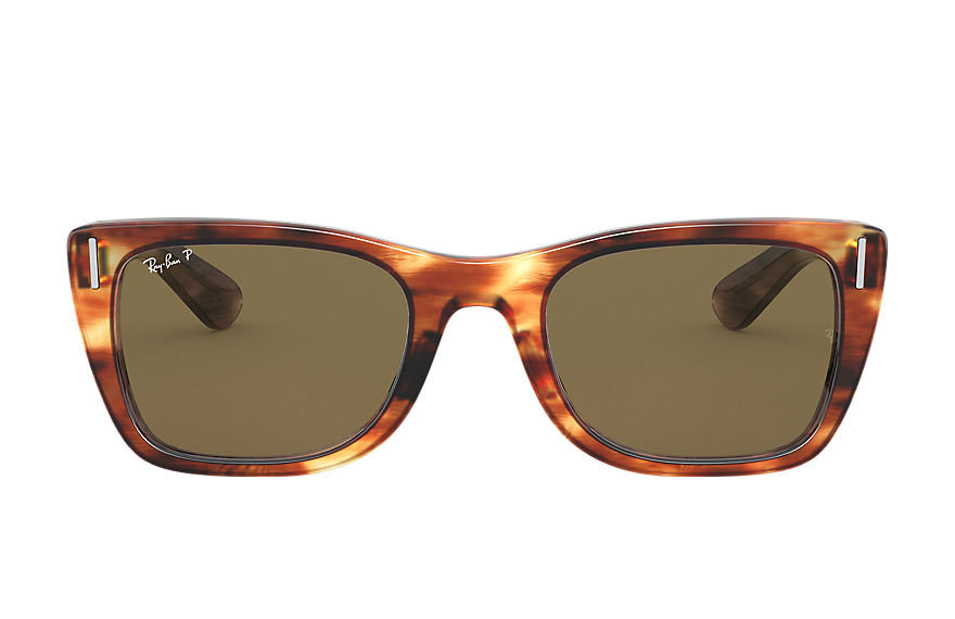 Ray-Ban Caribbean Striped Havana, Polarized Brown Lenses - RB2248