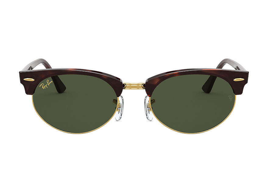 Ray-Ban Clubmaster Oval Legend Gold Mock Tortoise, Green Lenses - RB3946