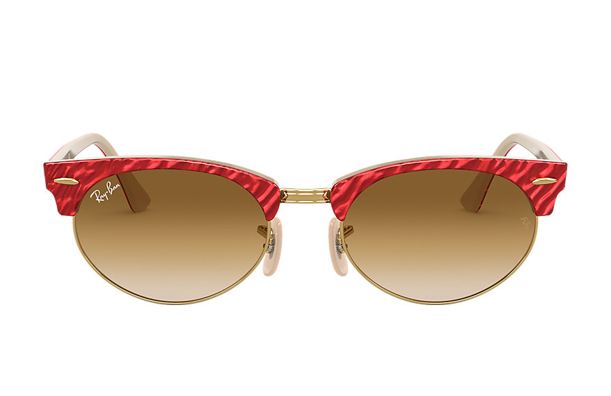 Ray-Ban Clubmaster Oval Wrinkled Red, Brown Lenses - RB3946