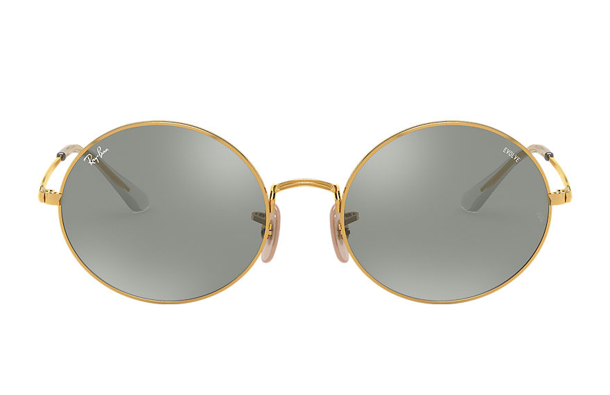 Ray-Ban Oval 1970 Mirror Evolve Gold, Grey Lenses - RB1970