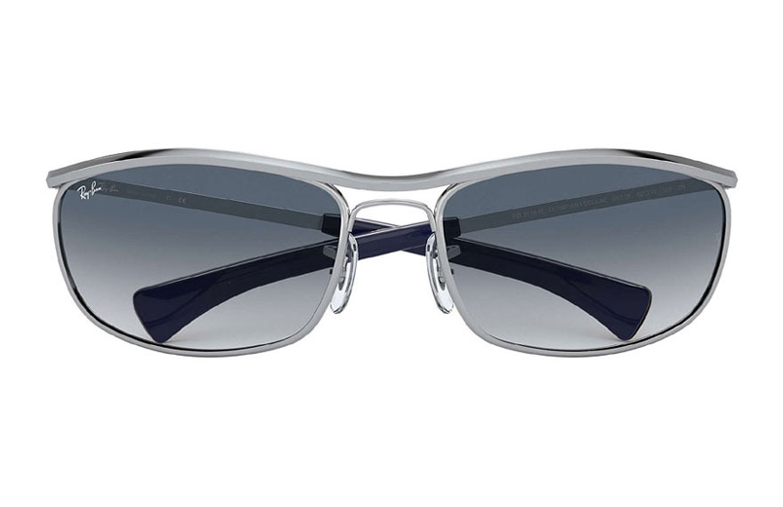 Ray-Ban Olympian I Deluxe Shiny Silver, Blue Lenses - RB3119M