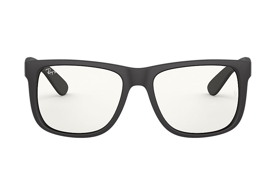 Ray-Ban Justin Clear Rubber Black, Clear Lenses - RB4165