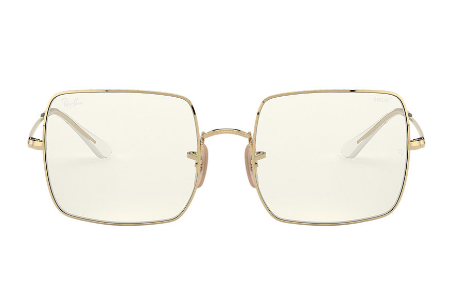 Ray-Ban Square 1971 Clear Evolve Shiny Gold, Grey Lenses - RB1971