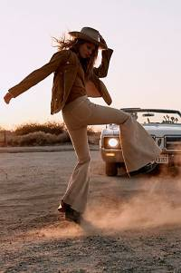 """Free People Jeans """"Just Float On Khaki Flares"""""""