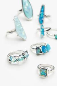 Free People Mega Watt Blue Opal Turquoise Stone Ring Set