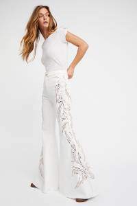 Free People White Embellished Flare Jeans