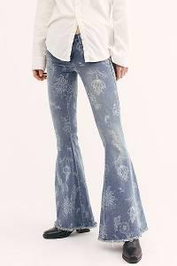 "Free People Denim Super Flare Jeans ""Indigo Boho"""