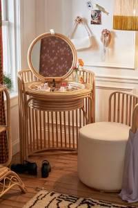 """Rattan Vanity Table + Stool Set """"Elise"""""""
