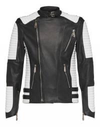 "Philipp Plein Men's Leather Biker Jacket ""NOTHING"""