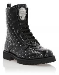 "Philipp Plein Combat Boots ""MOON"" Skull Women's Shoes"