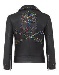"Philipp Plein Women's Leather Biker Jacket ""I'M THE ONE"""