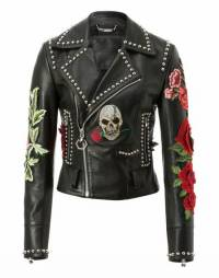 "Philipp Plein ""CAROLE GUADO"" Skull Leather Biker Jacket"
