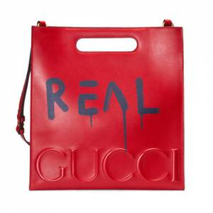 Gucci Men GucciGhost Red Leather Tote Bag