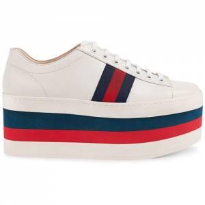 Gucci Women Leather White Platform Sneaker
