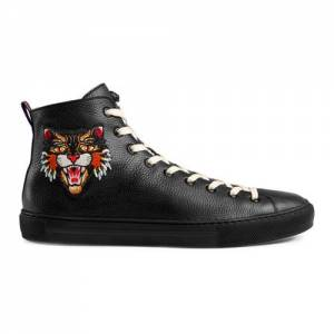 Gucci Men Embroidered Appliqués Leather High-Top Sneakers