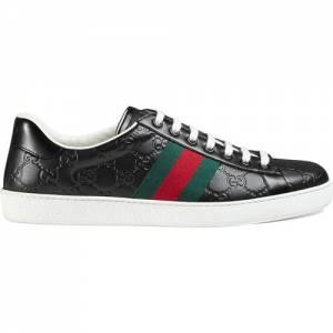 Gucci Men Ace Signature Logo Black Low Top Sneaker