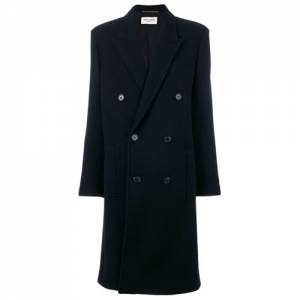 Saint Laurent Women Double Breasted Black Coat