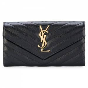 Saint Laurent Women GRAIN DE POUDRE YSL Monogram Black Flap Wallet