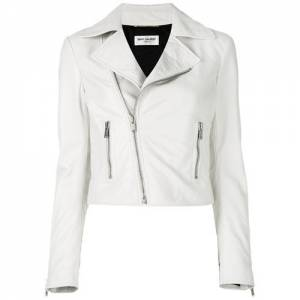 "Saint Laurent Women's Leather Biker Jacket ""White"""
