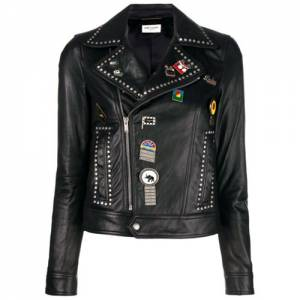 "Saint Laurent Women's Leather Jacket ""Studded Biker"""