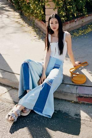 Free People Willa Pieced Denim Wide Leg Jeans