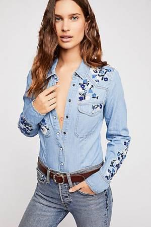 Free People Embroidered Denim Buttondown Western Shirt