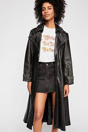 Understated Leather Studded Trench Coat